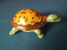 Porcelain Tortoise painted Green & Brown Realistic Shell - will spin on base