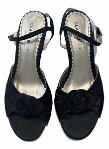 Clarice Black Slingback Peep Toe Sandals - 7 - Flower Toe Low Heel - EUC