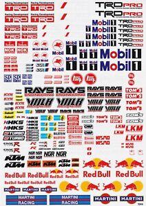 TRD Sticker Logo Sheet A4 for 1:10 RC car, truck or crawler also Mobil, KTM.
