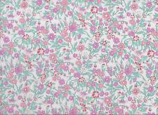White / Pink / Purple Floral Polycotton Fabric