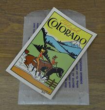 ORIGINAL VINTAGE TRAVEL DECAL COLORADO ROCKIES COWBOY HORSES TRAILER RANCH OLD