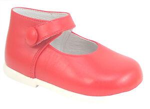 DE OSU/FARO - Baby Girls Red Leather Button Dress Shoes - European - Size 3-6.5