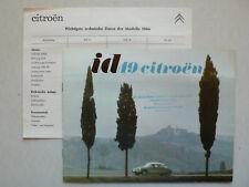Prospekt / brochure Citroen ID 19, 11.1963, 8 Seiten + Datenblatt