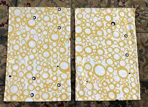 Set of 2 IKEA TORENIA Pillow Covers Mustard Yellow Circles Bubbles 20 x 29