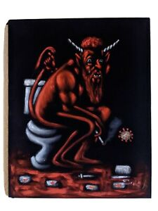 The Devil Smoking on the Toilet Original Black Velvet Oil Painting 16x20