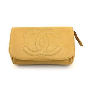 CHANEL CC Logo Beige Caviar Skin Cosmetics Pouch /70967