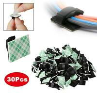 30pc Cable Clips Self Adhesive Cord Management Black Wire Holder Organizer Clamp