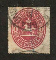Brunswick stamp #24, used, 1gr, carmine, serpentine roulette, 1865, SCV $50