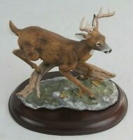 Vintage Homco Porcelain Masterpiece Mizuno Signed Deer / Buck Figurine w/ Stand