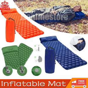 Inflatable Camping Mat Ultralight Portable Mattress With Pillow Single Sleeping