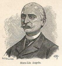 A7365 Angelo Moro-Lin - Stampa Antica del 1928 - Xilografia