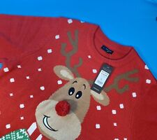 Mens Red Rudolph The Red Nose Reindeer Christmas Jumper Large RRP £19.99