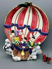 Fitz and Floyd Hot Air Ballooning Rabbit Platter 1995