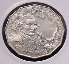 1970 50 Fifty Cent Coin Uncirculated - Captain Cook - In Coin Flip