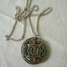 TIBET OM PENDANT DOUBLE DORJE MANDALA FINE INLAID ON CHAIN NEPAL