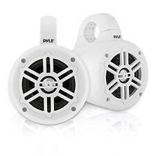 """Pyle Waterproof Marine Wakeboard White 4"""" Tower Speakers w/ Tweeters (Pair)"""