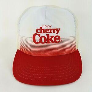 VTG 80s Cherry Coke Coca-Cola Mesh USA Trucker Hat Snapback Adjustable Drink Cap