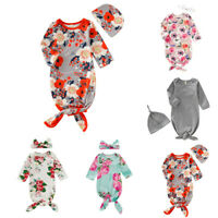 2PCS Newborn Baby Boy Girl Floral Crib Sleeping Bag Wrap Swaddle Headband Set ED