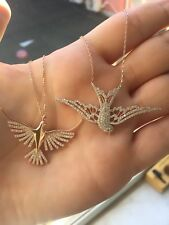 925 tune Silver bird-themed necklaces.stone colors: white, black, pink, blue