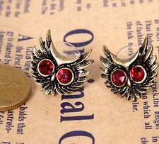 Vintage red crystal eye bronze owl head stud earrings