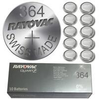 10 X Rayovac 364 SR60 SR621SW AG1 1.55 volt Silver Oxide Watch Battery