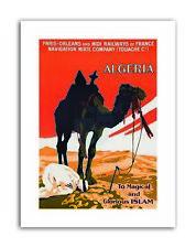 ALGERIA CAMEL ISLAM RAIL Poster Travel Canvas art Prints