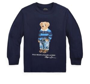 New polo ralph lauren Little Boys Rugby Bear Jersey Tee Size 6 Navy MSRP$35 NWT
