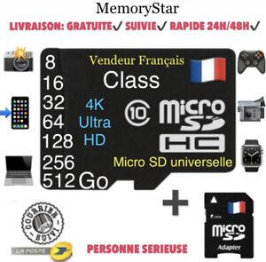 CARTE MEMOIRE MICRO SD SDXC SDHC 512 256 128 64 32 16 8 4 GO GB GIGA CLASS 10