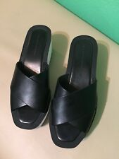 Zara Basic Collection Black Leather Open Toe Plateform Wedge Sandals Size 39