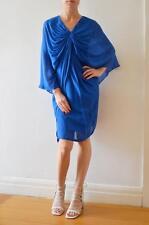 WILLOW (KIT) Cobalt Blue Silk Twist Front Batwing Sleeve Dress AU12 Fits AU10