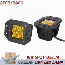 2X 16W CREE LED Yellow Pod Work Fog Light 5D Lens Spot for Truck ATV Flush Mount