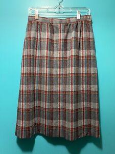 VTG 80s Pendleton Wool Straight Pencil Skirt Plaid Red Green Gray Sz 10 Lined