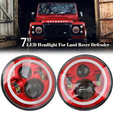 """PAIR 7"""" LED RED HALO HEADLIGHTS E MARKED RHD FOR LAND ROVER DEFENDER 110 90 TD5"""