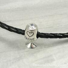 925 Sterling Silver White Wine Glass Charm - Large Hole Bead European Bracelet