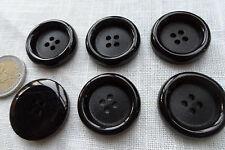 Knöpfe 6-22  30 mm schwarz uni 4 Löcher XL dicke schwer Mantelknopf Jackenknopf