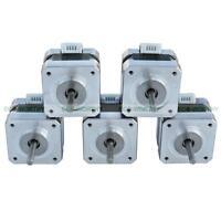 5 Pieces NEMA 17 12Volts Stepper Motors Kit 0.4A 2 Phase for CNC Mill Robot