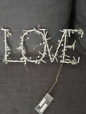Love Sign Led Lights BAttery Operated White