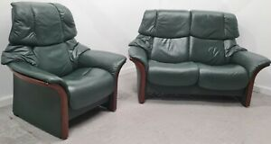 Ekornes Stressless 2 seater recliner leather sofa and Chair 1005214