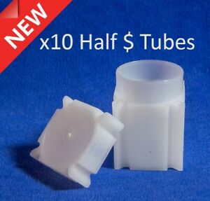 10 Square Coin Safe Tubes For US Half Silver Kennedy Liberty Dollars 32.10mm New