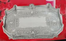 """Silver Plated Antique Reproduction Octagon Footed Heavy Serving Tray  18"""" x 13"""""""