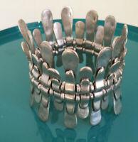 Damen Flexarmband Armreif Löffel Ringe Glieder Armband Zugarmband 70'er Jahre