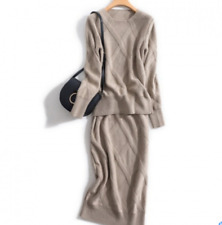 Womens Cashmere blend Twist Knitted Sweater Slit Skirt 2Pcs Thick Warm Suits new