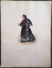 COSTUME Autriche Hongrie Suisse Gravure Originale 19e Aquarellée Pelcoq Morse 11