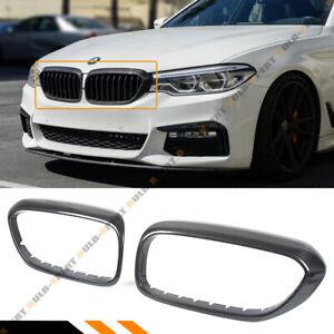 FOR 2017-2020 BMW G30 G38 530i 540i M550 CARBON FIBER GRILL INSERT TRIM COVER