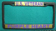 License Plate Frame-U.S. VETERAN/PURPLE HEART-Polished ABS- #3366PG