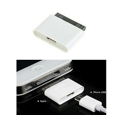 Micro USB to 30 pin Female/Male Charger Adapter for Apple iPhone 4S/iPad /iPo...