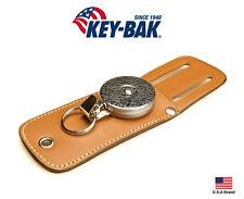 "Key-Bak Retractable Tradesman Duty 24"" Stainless Steel Chain Belt Leather Pouch"
