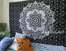 Indian Black Silver Ombrey Mandala Hippie Small Wall Hanging Room Decor Tapestry