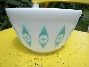 Rare Pyrex Chip Dip Bowl ATOMIC EYES Vintage 1950s Turquoise Mixing Nesting MCM