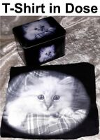 KATZEN T-SHIRT Geschenk Dose Katze Cat Retro Design BAUMWOLLE S M L 140 152 164